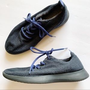 Allbirds Merino Wool Runners Gray Blue Laces 11